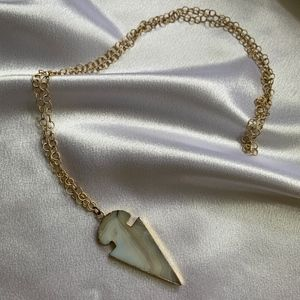 Jewelry - Marbled Arrowhead Necklace on Long Gold Chain